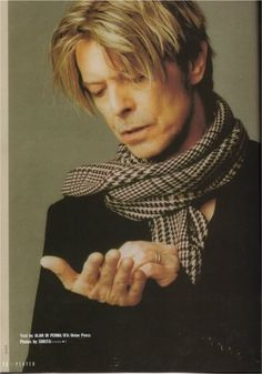 1/11. RIP, David Bowie. He was perfectly glam, cool, & true. You never knew what form he would take next. He didn't ask where he should go creatively, he didn't let people tell him; he just went, letting us follow if we wanted to. The great artists are rare, strange creatures. I will miss knowing he was around somewhere, ready to give me a new perspective on the universe. Knitting a scarf, listening to LOW all day.