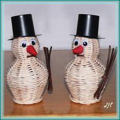 Sněhulák Basket Weaving, Rattan, Winter, Creative, Christmas, Handmade, Recycling, Hampers, Recycle Paper