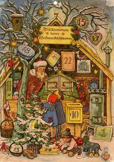 Richard Sellmer Advent Calendar, Order-Nr. A1, Willkommen beim Weihnachtsmann, Illustrated by Elisabeth Lörcher, 1949. German Advent Calendar, Advent Calendars, Saint Nicolas, Baumgarten, Yule, Painting, Vintage, Advent Calendar, Happiness