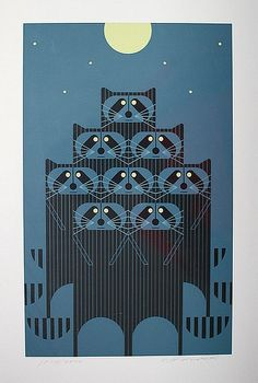 Raccoons by Charley Harper