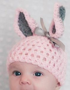Easter Crochet Baby Hat via DaWanda - Mum can you crochet this in white & grey for the baby please? :)