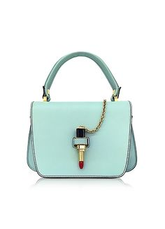 Giancarlo+Petriglia+Sky+Blue+Leather+Mini+Queen+Bag+w/Lipstick