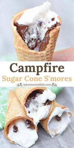 Campfire Sugar Cone S'mores - Adventures of Mel - How to make yummy campfire s'mores in an ice cream cone. All you need are sugar cones, chocolate chips, and mini marshmallows for this easy camping recipe! Campfire Sugar Cone S'mores – Adventures of Mel Smores Dessert, Campfire Desserts, Campfire Food, Camp Desserts, Party Desserts, Grilled Desserts, Desserts For Camping, Desserts On The Grill, Campfire Eclairs