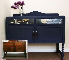 DIY sideboard! Welcome to sanding, painting, and some great wallpaper and our old friend Modpodge! Sign me up!
