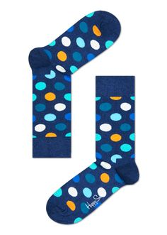 Blue Socks with White, Green, Orange and Blue Big Dots. Buy Unique Socks Online at Happy Socks. Happy Socks