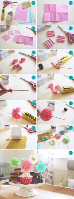 Paper Fan Cupcake Toppers Collage by rosemarie