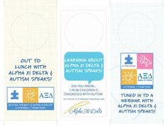 Door Hangers to put on your office door for the Brown Bag Lunch Webinar on November 15. Print these out, use the crop marks to trim each hanger to its finished size. Use scissors or a hole punch to cut out the circle for the door knob. Hang on your door so everyone in your office knows you are spending your lunch with Alpha Xi Delta and Autism Speaks!