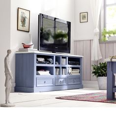 Falcon TV Stand In Pine Wood In Blue And White