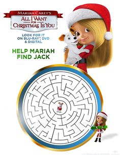 Can you help Mariah find Jack? Little Mariah wanted nothing more for Christmas than a puppy, and she got more than she wished for with Jack! Gather your family and furry friends for an instant Christmas classic that's sure to light up your night. Best Christmas Songs, Christmas Movies, Christmas Wishes, Christmas Ideas, Christmas Printable Activities, Preschool Activities, New Animation Movies, Universal Studios Theme Park, Meet Santa