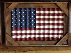 Correlated metal flag framed in barn wood