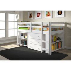 Donco Kids Low Study Loft Desk Twin Bed with Chest and Bookcase