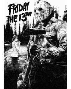 V598 FRIDAY THE 13TH Movie Horror-Jason Art Fabric poster12x18 24x36 room decor