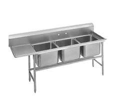 """Advance Tabco Regaline Sink three Cmpt. 20"""" - 94-23-60-36L    Regaline Sink, three compartment, w/left-hand drainboard, 20"""" front-to-back x 20"""" W compartment, 14"""" deep, with 11"""" high splash, s/s open frame base, boxed crossrails, 36"""" drainboard, s/s bullet feet, 14/304 stainless steel, overall 27"""" F/B x 107"""" L/R"""