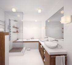 Bathroom with woods Futuristic Furniture, Bathroom Inspiration, Verona, Double Vanity, Modern Decor, Improve Yourself, Kitchen Design, Bathtub, Woods