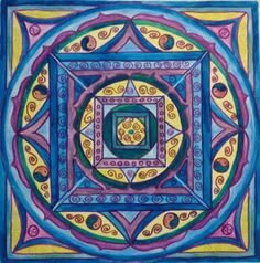 Water colour square circle Tibetan style. Cards £2.50 each