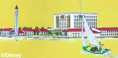 """1971 Walt Disney World 5 Year Plan. The Venetian Resort was to sit in-between the Transportation & Ticket Center and the Contemporary Resort. Plans called for a """"City of Canals"""" that would offer unique shopping opportunities as guests traveled by gondola under ornate bridges to various sections of the resort. Reminiscent of St. Mark's Square, a 120-foot campanile would be the hotel's icon. This resort would also have its own monorail station."""