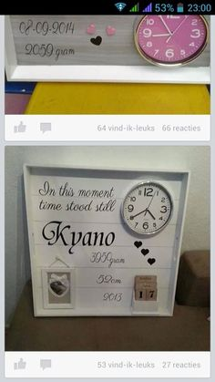 Het nieuwerwetse geboortebord.. Time Stood Still, Silhouette Cameo Projects, Box Frames, Diy Baby, Cooking Timer, Shadow Box, Home Deco, Babyshower, Baby Gifts