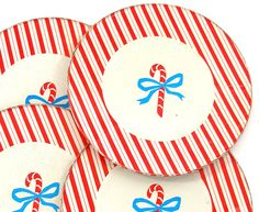 cute vintage tin plates with candy canes and stripes ~ just bought on etsy!