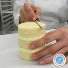 With a serrated kitchen knife carve around the top of the cake. Keep turning it as you carve it into a sphere or an oval shape. Tip: It is easier to carve on a turntable. Ornament Tutorial, Oval Shape, Mini Cakes, Turntable, Vanilla Cake, Turning, Cake Decorating, Cheesecake, Shapes