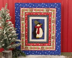 Chilly Penguin Wall Art - Your heart will warm right up once you've added a cute little penguin applique design to this winter quilt pattern. It'll make a great quilted Christmas decoration, but also fits in well with regular seasonal decorations.