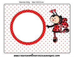 Joaninha - Kit Completo com molduras para convites, rótulos para guloseimas, lembrancinhas e imagens! Baby Ladybug, Ladybug Party, Frog Crafts, I Card, Picture Frames, Clip Art, Printables, Symbols, Scrapbook