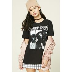 Forever21 Snoop Dogg Graphic Band Tee ($16) ❤ liked on Polyvore featuring tops, t-shirts, graphic tops, graphic print tees, graphic design t shirts, forever 21 tee and short sleeve tee