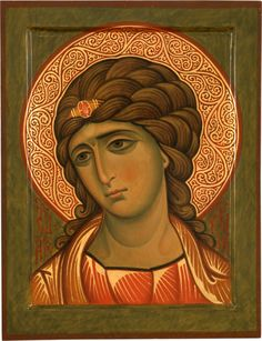 Icon of the Guardian Angel [aka of the Golden Hair] by Yuri Federov 2004 Religious Images, Religious Icons, Religious Art, Byzantine Icons, Byzantine Art, Paint Icon, Religion Catolica, Archangel Gabriel, Religious Paintings