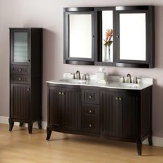 Ideal for two users in the morning rush, the Palmetto espresso Double Vanity sets the tone for an impeccable bathroom update. This double vanity features two sinks with a spacious, soft-closing cabinet under each and plentiful room for displaying toil Linen Cabinet, Vanity Cabinet, Vanity Sink, Vanity Bathroom, Navy Bathroom, Cream Bathroom, Vanity Mirrors, Narrow Bathroom, Master Bathroom
