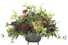 Natural Decorations, Inc. - Day Lily & Pokeberry | Bronze Urn