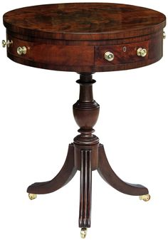 A Classical Carved Mahogany Drum Or Work Table; Baltimore, One Drawer  Interior Is Signed U201cC. Gray Listed As A Cabinetmaker In Gregory Weidmanu0027s  Furniture In ...