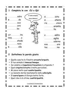 Risultati immagini per schede qu cu Italian Grammar, Italian Language, Primary School, Elementary Schools, Learning Italian, Homeschool, Bullet Journal, Milani, Studio