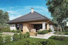 Projekt domu Morgan III 107,05 m2 - koszt budowy - EXTRADOM Small House Design, Dream House Plans, Home Design Plans, Atrium, Gazebo, Sweet Home, Outdoor Structures, World, Studio