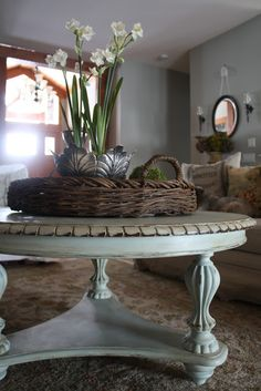 Willow Wisp Cottage: A Serious Coffee Table turned charming with 1/4 Duck Egg Blue, 3/4 Old White, clear and dark waxes.