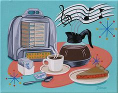Mid Century Modern Eames Retro Limited Edition Print from Original Painting Diner Jukebox Coffee