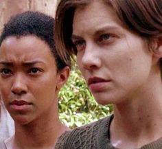 "Sasha (Sonequa Martin-Green) and Maggie (Lauren Cohan) at the Hilltop   Season 7:Episode 5 - ""Go Getters"""