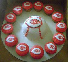 cincinnati reds cakes   cincinnati reds cincinnati reds theme half ball with reds logo ...
