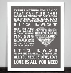 The Beatles All You Need Is Love Music Song Lyric Print Poster Valentine Wedding