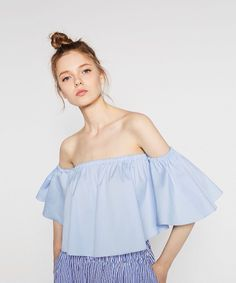 b94b05c9b88 Zara Off-the-Shoulder Top Blue Off Shoulder Top