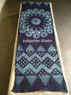 Handmade shibori indigo dying cotton stole