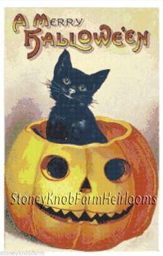 Cat & Pumpkin ~ Vintage Halloween ~ Counted Cross Stitch Pattern #StoneyKnobFarmHeirlooms #CountedCrossStitch