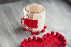 rustic napkin and a hot cup holder, Valentines day gift for queen of hearts, chunky red crochet heart, country table setting - ariane Country Table Settings, Rustic Napkins, Cup Coaster, Color Feel, Winter Hats For Women, Knitted Headband, Spring Green, Easter Gift, Gifts For Wife