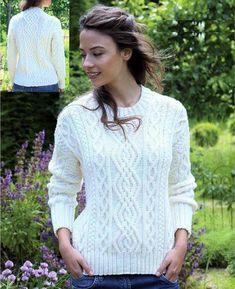 Aran Sweater Aran Jumper Chunky yarn in 5 sizes XSml SML | Etsy Free Knitting Patterns For Women, Cable Knitting Patterns, Jumper Knitting Pattern, Jumper Patterns, Knitting Ideas, Aran Jumper, Aran Sweaters, Pull Torsadé, Vogue Knitting