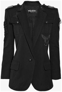 Really cool blazer! Image Fashion, Dark Fashion, Blazer Suit, Suit Jacket, Mode Inspiration, Mode Style, Military Fashion, Fashion Outfits, Feminine Fashion