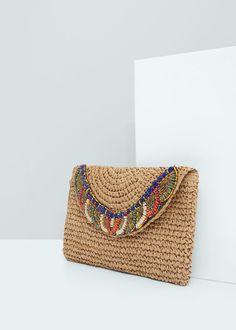 Dekoratif boncuklu zarf çanta