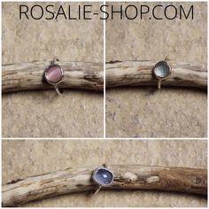 Bagues #rose #marron #verte #bleue #turquoise. Des #bagues en #plaqué #or ou #argent, #carrée ou #ronde ... #RosalieShop #mode en ligne de #vêtements #femme #tendance