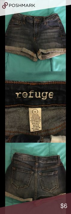 Rolled Hem Denim Shorts Size 0 Refuge Size 0 by Refuge.  Dark rinse denim shorts with rolled hem.  Great condition!   Important:   All items are freshly laundered as applicable prior to shipping (new items and shoes excluded).  Not all my items are from pet/smoke free homes.  Price is reduced to reflect this!   Thank you for looking! refuge Shorts Jean Shorts