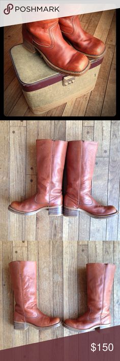 *one night sale* Vintage Campus Boots Beautiful vintage campus boots with stacked heel and pull on tabs inside. Gorgeous burnt caramel color leather is very supple. No label, but through research I have learned that prior to 1970 Frye did not put a black label in their Campus boots. Regardless, these are amazing vintage boots. Check out the photos for minor condition issues, such as: scuffed toes, some black specks, and wearing on the heel. No size listed, but my friend and I both wear 7.5…