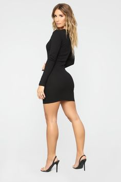 Fall In Puppy Love Mini Dress - Black – Fashion Nova Beautiful Legs, Gorgeous Women, Sexy Dresses, Nice Dresses, Sexy Legs And Heels, Sexy Skirt, Long Sleeve Mini Dress, Fashion Outfits, Womens Fashion