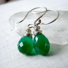 Emerald Green Quartz Earrings by OneLoomStudio