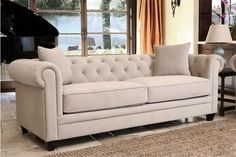 Living Room Furniture Sofa Couch Morgan Tufted in Beige for sale online Tufted Sectional, Beige Sofa, Cozy Place, Fabric Sofa, Leather Sofa, Living Room Furniture, Living Rooms, Love Seat, At Least